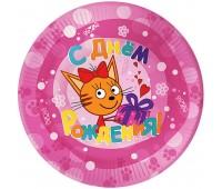 Тарелка «Три кота» розовая (6 шт.)