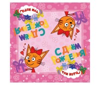 Салфетки «Три кота» розовые (12 шт.)
