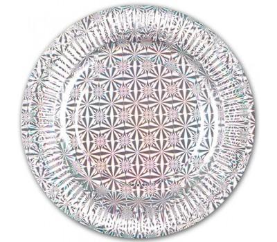 Тарелки одноразовые Серебро голография 18 см (6 шт.)