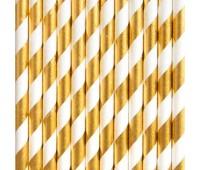 Трубочки золотые в полоску (25 шт.)