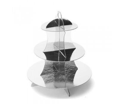 Подставка для пирожных серебряная