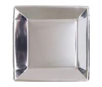 Тарелка серебро квадратная (25 шт.)