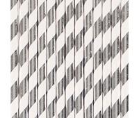 Трубочки серебряная полоска (25 шт.)