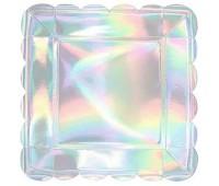 Тарелки серебро перламутр 23 см (6 шт.)