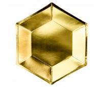 Тарелки золото шестиугольные (6 шт.)