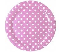 Тарелки розовые Горошек (6 шт.)