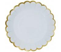 Тарелки голубые с золотой каймой (6 шт.)