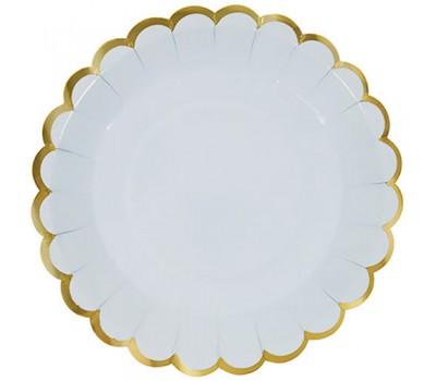 Тарелки одноразовые голубые с золотой каймой (6 шт.)