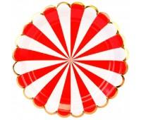 Тарелки красные Полоски (6 шт.)