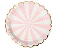 Тарелки розовые Полоски  (6 шт.)