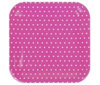 Тарелки розовые яркие Горошек (6 шт.)