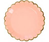 Тарелки розовые с золотой каймой (6 шт.)