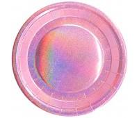 Тарелки розовые голография (6 шт.)