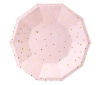 Тарелки розовые с золотыми звездами (6 шт.)
