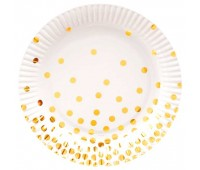 Тарелки белые с золотым конфетти (6 шт.)