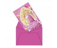 Приглашение в конверте «Барби» (6 шт.)