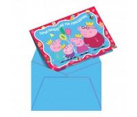 Приглашение в конверте «Свинка Пеппа» (6 шт.)
