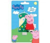 Свеча цифра 2 «Свинка Пеппа» (Peppa Pig)