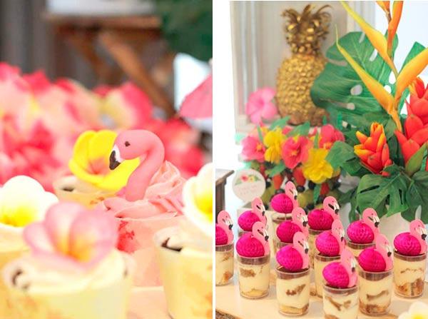 Фото сладкого стола гавайской вечеринки с фламинго
