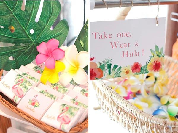 Кэнди-бар праздничного стола  с гавайским фламинго