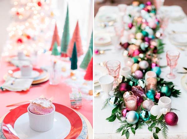 Рождественская сервировка стола в ярких цветах