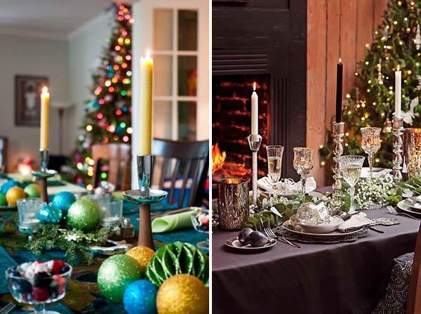 Новогодняя сервировка стола в темных тонах