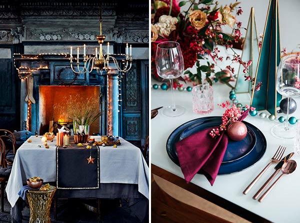 Рождественская сервировка стола в темных цветах