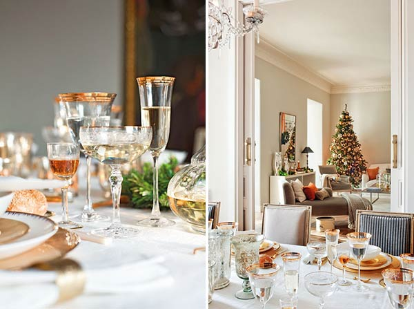 Новогодняя сервировка стола белый плюс зотото