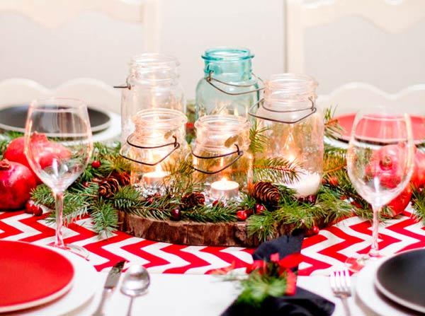 Новогодняя сервировка стола в стиле рустик