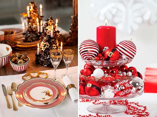 Новогоднее оформление стола: красный плюс белый