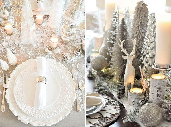 Новогодняя сервировка стола белый плюс серебро