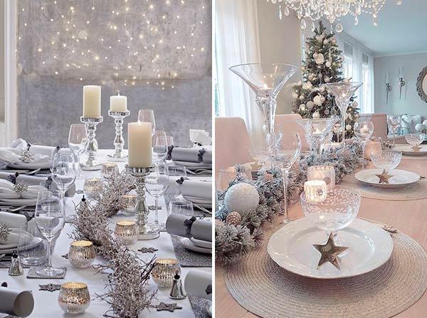 Новогодний стол: белый плюс серебро