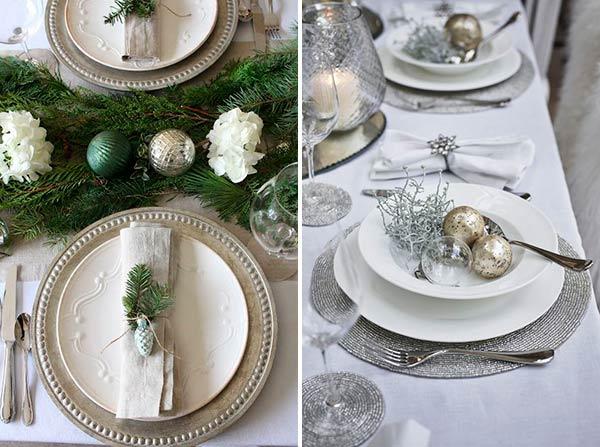 Рождественский стол: белые и серебряные цвета декора