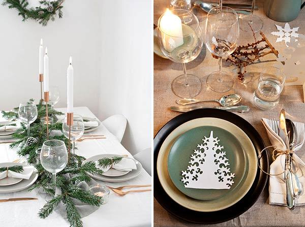 Новогодняя скандинавская сервировка стола