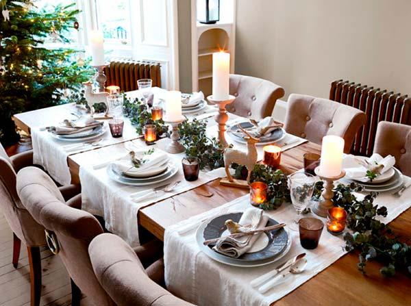 Новогодняя сервировка стола в скандинавском стиле