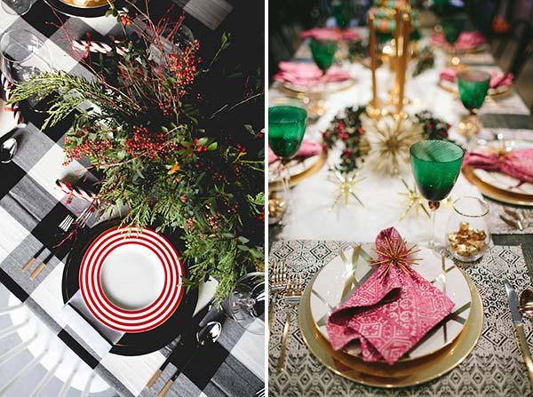 Новогодняя сервировка стола красный, белый, зеленый