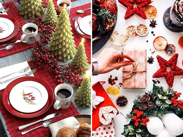 Новогодняя сервировка в традиционных цветах