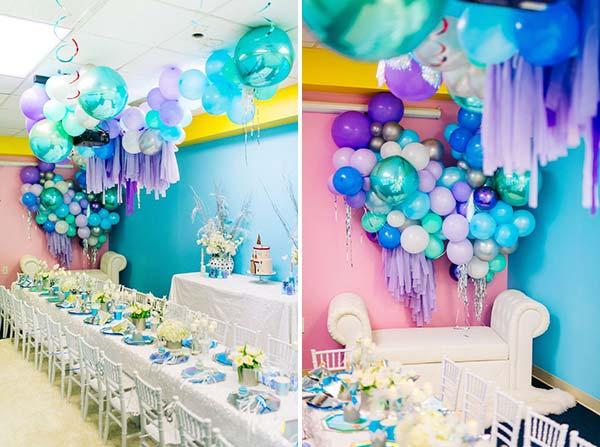 Фотозона из шаров для вечеринки Frozen