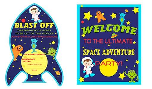Скачать шаблоны для космической вечеринки