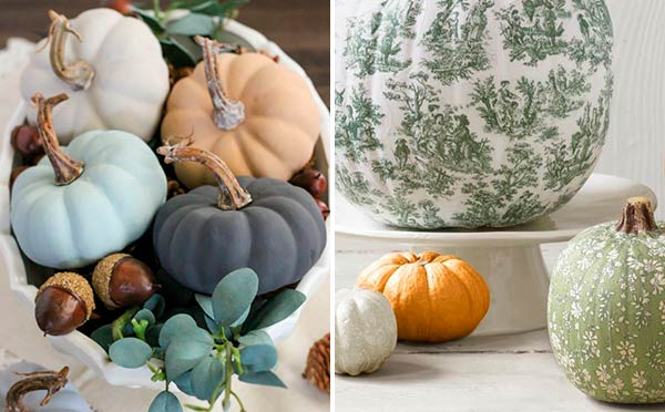 Декор тыквы на Хэллоуин - декупаж и композиции с суккулентами и эвкалиптом цветами