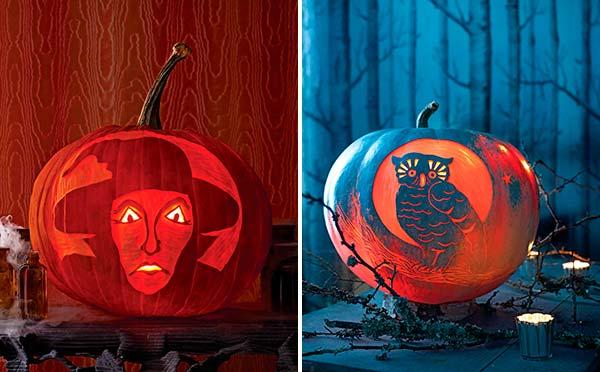 Ведьма и сова - шаблоны для вырезания для тыквы на Хэллоуин