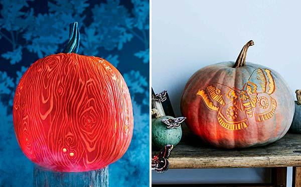 Шаблоны для вырезания тыквы на Хэллоуин - древесная текстура и светящийся мотылек