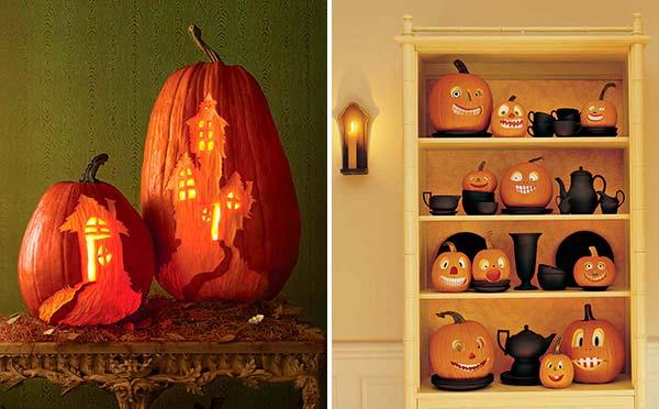 Тыквы на Хэллоуин - вырезать дом с привидениями или смешные рожицы