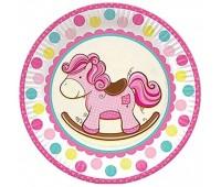 Тарелка Лошадка розовая (6 шт.)
