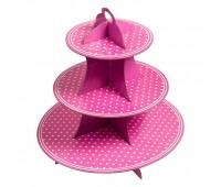 Подставка для десертов Розовый горошек