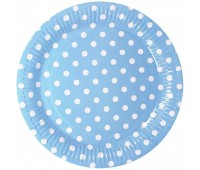 Тарелка голубая Горошек (6 шт.)