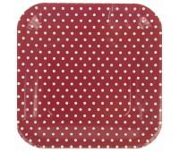 Тарелка красная Горошек (6 шт.)