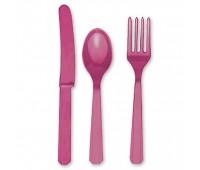 Столовые приборы ярко-розовые (3х8 шт.)