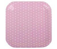 Тарелка розовая Горошек (6 шт.)