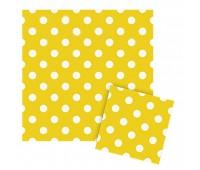 Салфетки желтые Горошек (12 шт.)